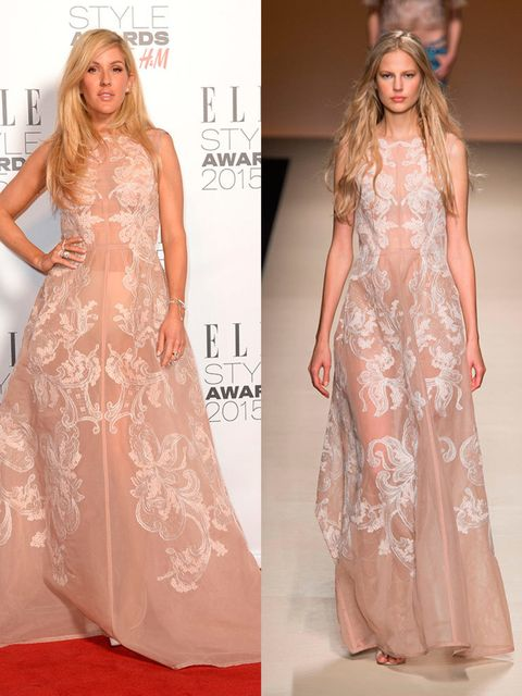Ellie Goulding wears Alberta Ferretti Spring 2015 gown at the 2015 Elle Style Awards, February 2015.