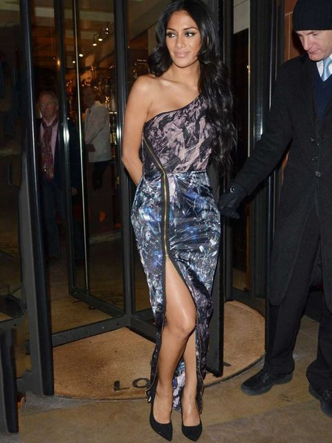 <p>Nicole Scherzinger wears an asymmetrical printed dress out for dinner at C London.</p>