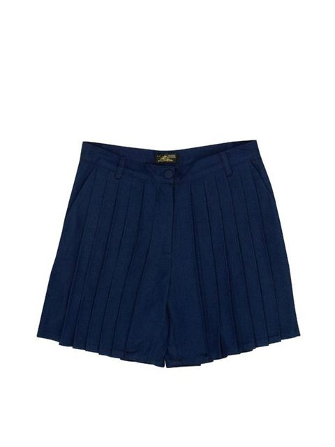 <p>Navy pleated shorts, £127, by Le Mont St Michel at Urban Outfitters (0203 219 1944) </p>