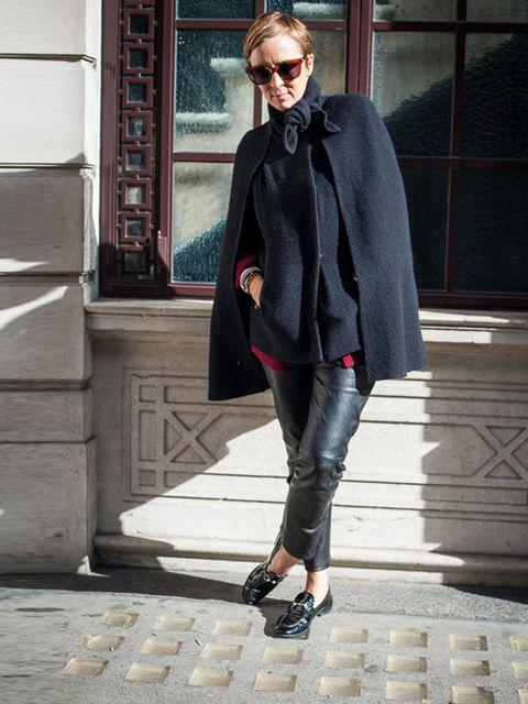 <p>Anne-Marie Curtis, ELLE Fashion Director:</p><p>Vanessa Bruno cape, Joseph leather trousers, Gucci loafers</p>