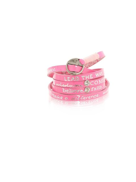 "<p><a href=""http://www.honestas.se/gw/"">Good Works</a> bracelet in neon pink, £48</p>"