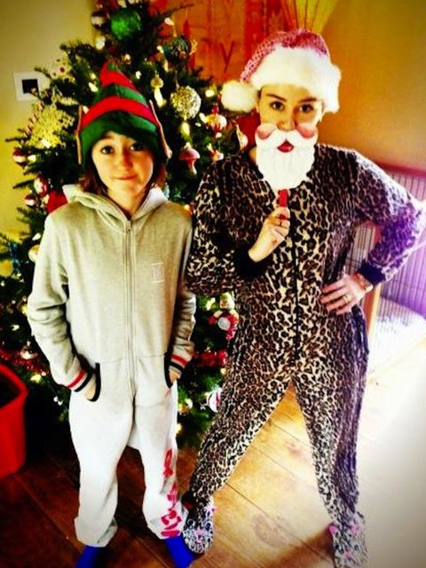 <p>Miley Cyrus dressed up on Christmas morning</p>