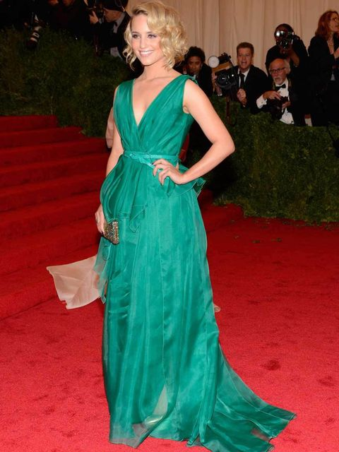 "<p>Dianna Agron wearing a <a href=""http://www.elleuk.com/catwalk/designer-a-z/carolina-herrera/autumn-winter-2012"">Carolina Herrera</a> dress at The MET Ball 2012</p>"