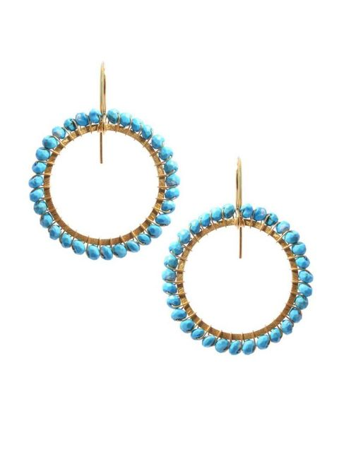 "<p>Wear with denim and suede, but stop short of spurs. Unless you're a cowgirl. If you're a cowgirl, then the western trend is your (fringed) oyster.</p>  <p><a href=""http://www.kirstengoss.com/shop-1/earrings/hoops/mia-vermeil-turquoise.html"" target=""_bl"