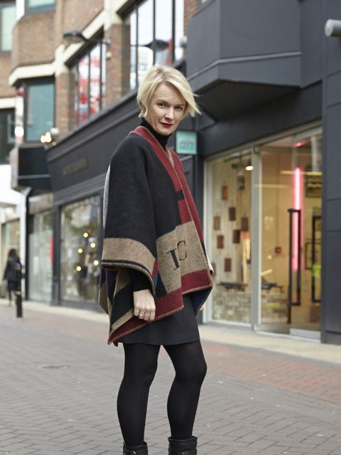 Lorraine Candy – Editor in Chief. Burberry blanket coat, Marks & Spencer jumper, Chalayan skirt, Stuart Weitzman boots.
