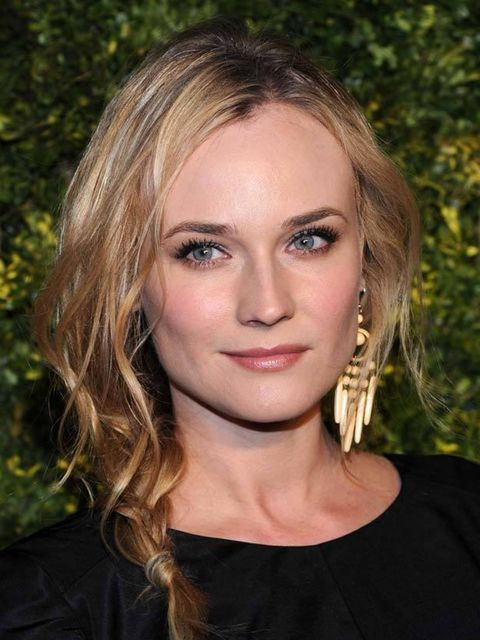 <p>A stylishly undone plait is a great solution for salty, beachy hair – in fact the tousled gritty texture will only lend to the overall look and Diane Kruger's version is spot on. With your hair parted off-centre, sweep the hair over to the opposite sid