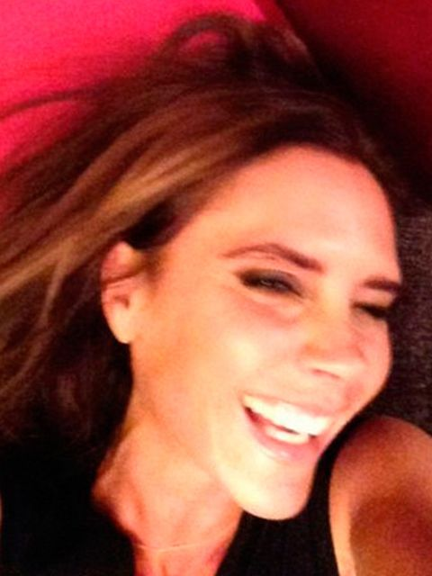 "<p>Yes, she does smile. Not only that, but she makes fun of herself when she does it. And publicly.</p><p><em>Victoria Beckham smiles in a 2013 selfie.</em></p><p><a href=""http://www.elleuk.com/star-style/celebrity-style-files/victoria-beckham-style""></a>"