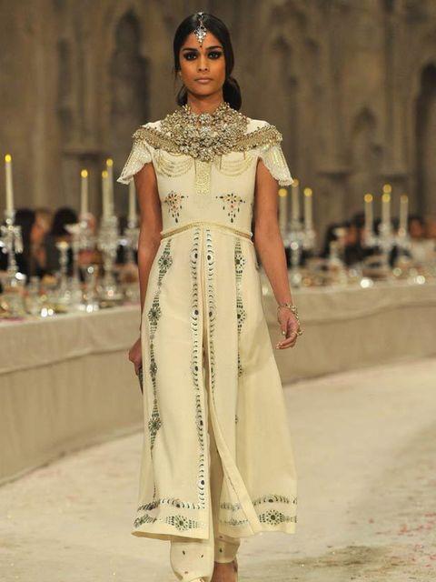 <p>A model in Chanel's pre-fall 2012 show.</p>