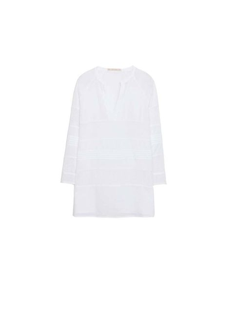 "<p>Team the skirt with a white cotton top like this from <a href=""http://www.zara.com/uk/en/woman/shirts/combination-cotton-voile-blouse-c358004p1843006.html"">Zara</a>, £25.99</p>"
