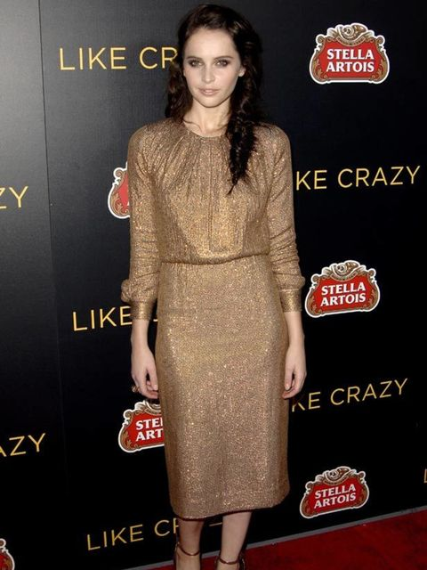 """<p><a href=""""http://cms.elleuk.com/content/search?SearchText=Felicity+Jones&SearchButton=Search"""">Felicity Jones</a> wearing a <a href=""""http://www.elleuk.com/catwalk/collections/chloe/"""">Chloe</a> dress at the Like Crazy film premiere in Los Angeles, 25"""