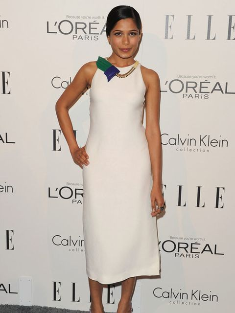 "<p><a href=""http://www.elleuk.com/content/search?SearchText=freida+pinto&SearchButton=Search"">Freida Pinto</a> wearing a <a href=""http://www.elleuk.com/catwalk/collections/calvin-klein-collection/"">Calvin Klein Collection</a> dress at the 18th Annual"