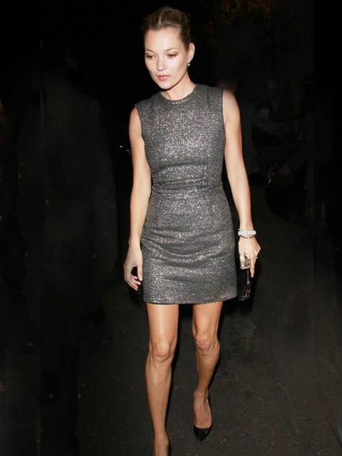 "<p><a href=""http://www.elleuk.com/starstyle/style-files/(section)/Kate-Moss"">Kate Moss</a> wears a metallic shift dress for the wedding of Paul McCartney and Nancy Shevell in London, October 2011.</p>"