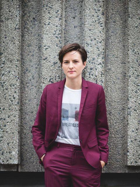 Lotte Jeffs , Deputy Editor Topshop suit, Rodarte T-shirt, Adidas trainers