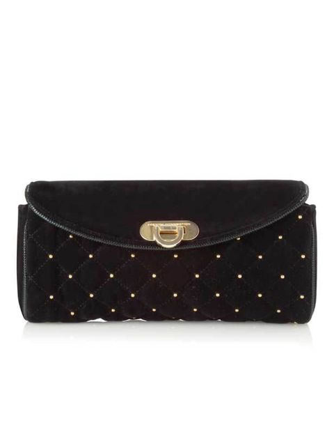 """<p> <a href=""""http://www.frenchconnection.com/product/Woman+Collections+Accessories/SBOL4/Velvet+Stud+Clutch+Bag.htm"""">French Connection</a> velvet stud clutch, £33</p>"""