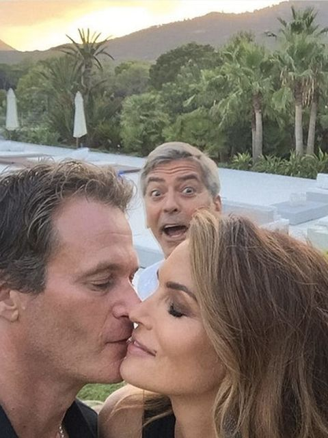 <p>George Clooney Gets Cindy Crawford And Husband Randy Gerber As They Share A Kiss In Ibiza</p>