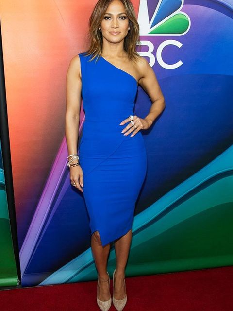 <p>Jennifer Lopez wears Casadei shoes to an NBC 2016 press event in California, January 2016.</p>