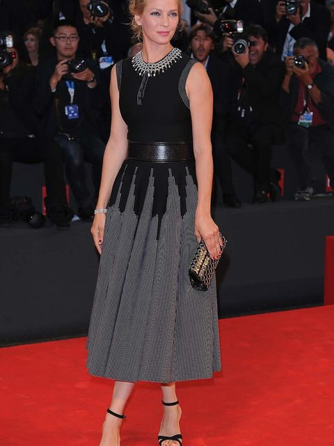 Uma Thurman attends the Nymphomaniac premiere during the 71st Venice International Film Festival.