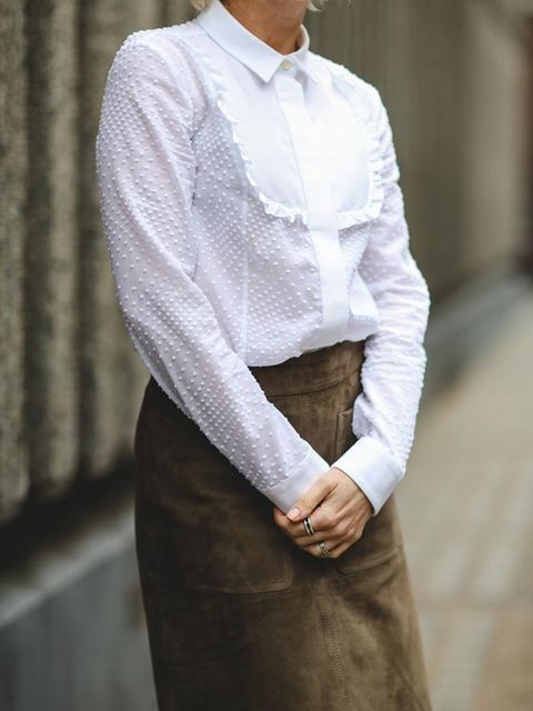 Lorraine Candy, Editor-in-ChiefJoseph coat, Red Valentino blouse, Marks and Spencer skirt and brogues
