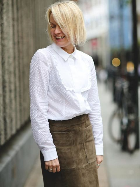 Lorraine Candy, Editor-in-Chief Joseph coat, Red Valentino blouse, Marks and Spencer skirt and brogues