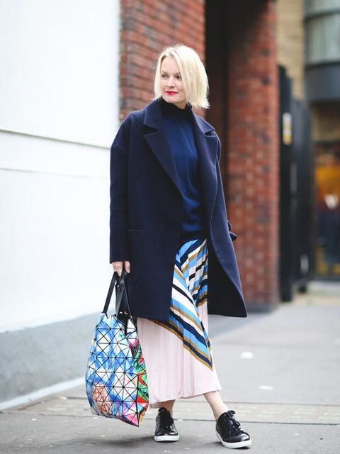 Lorraine Candy, Editor-in-Chief Raey at Matches Fashion, Markus Lupfer polo neck, Zimmerman skirt, Whistles trainers, Issey Miyake bag