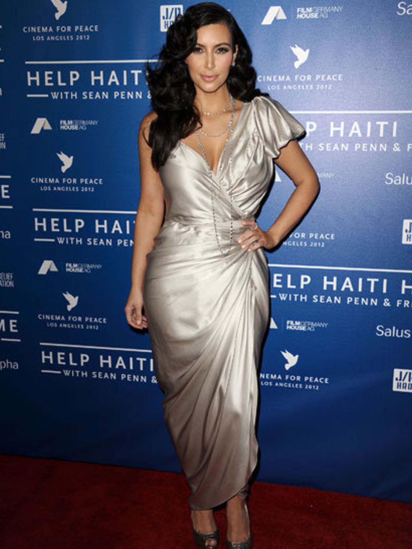 <p>Kim Kardashian in a Lanvin dress</p>