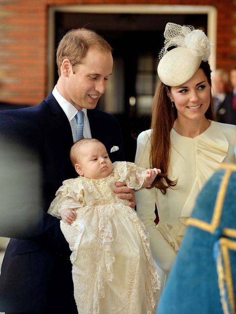 "<p>The Duke and <a href=""http://www.elleuk.com/star-style/celebrity-style-files/kate-middleton-s-style-file"">Duchess of Cambridge</a> with their son Prince George arrive at Chapel Royal in St James's Palace, ahead of the christening of the three month-old"