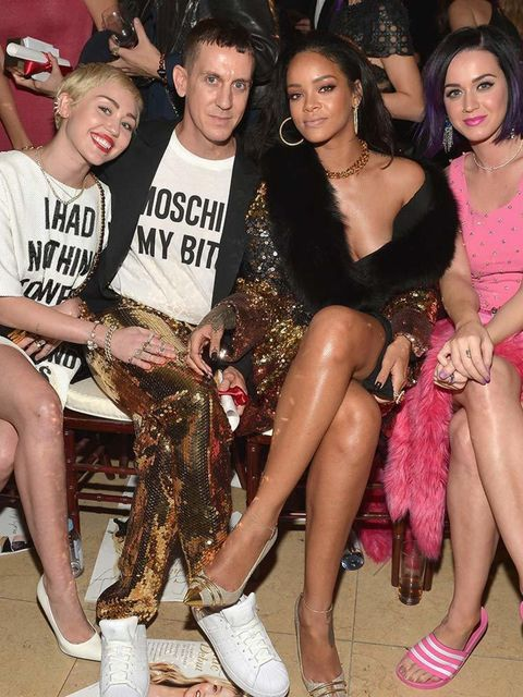 <p>Miley Cyrus, Jeremy Scott. Rihanna and Katy Perry. (note Jeremy and Rihanna's co-ordinating sequins).</p>