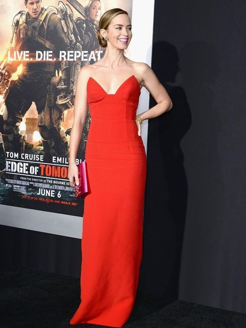 <p>Emily Blunt wears Prada to the <em>Edge of Tomorrow</em> red carpet repeat fan premiere on May 28th 2014 in New York City.</p>