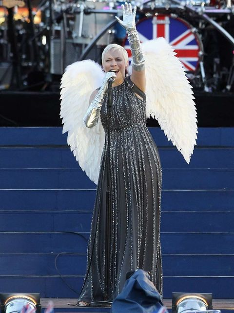 <p>Annie Lennox dressed as an angel for a performance of the Eurythmics' hit 'There Must Be an Angel (Playing with My Heart)'</p>