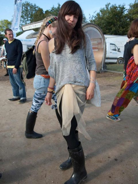 <p>Florence, 29, Illustrator. Topshop top, toule gauze, vintage boots, H&M leggings.</p>
