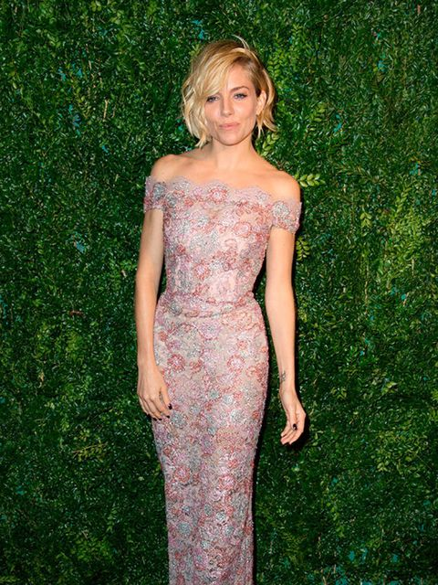 Sienna Miller wore Burberry to the Evening Standard Theatre Awards London, November 2014.