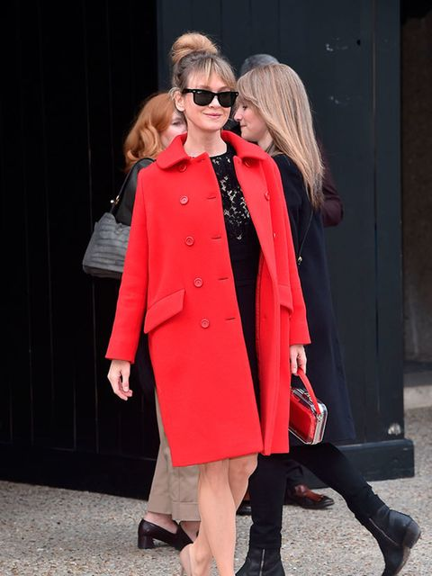 Renee Zelweger arrives for the Miu Miu a/w15 show during Paris Fashion Week, March 2015.