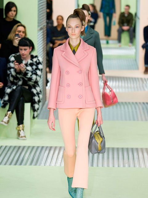 <p>PRADA</p>  <p>Who knew you need a bicoloured pink trouser suit fashioned from neoprene. Miuccia Prada, that's who. AMC</p>