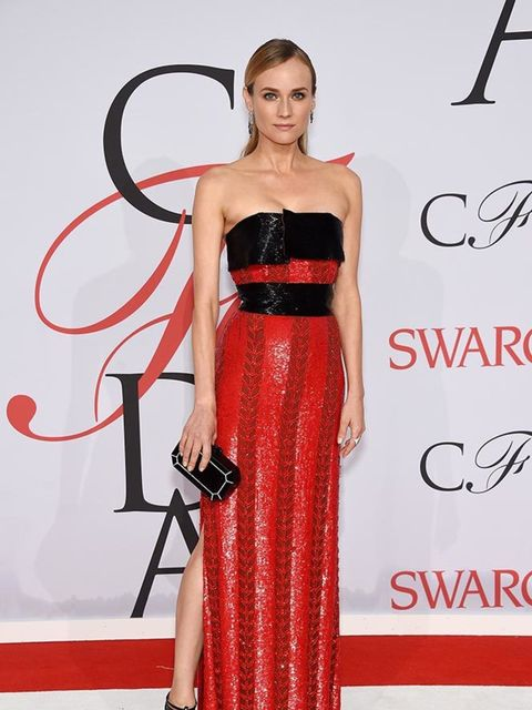 <p>Diane Kruger wears a Swarovski crystal embellished Prabal Gurung gown, Monique Péan jewels and an Edie Parker clutch as sheattends the CFDA Awards in New York, May 2015.</p>