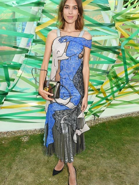 <p>Alexa Chung wears Christopher Kane at the Serpentine Summer Gallery Party in London, July 2015.</p>
