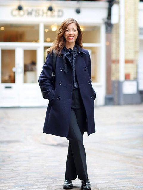 <p>Kirsty Dale, Executive Fashion & Beauty Director</p>  <p>M&S coat, AllSaints top, H&M trousers, Church's shoes, Louis Vuitton bag</p>