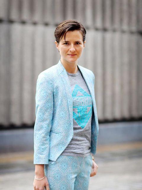 <p>Lotte Jeffs, Deputy Editor</p>  <p></p>  <p>Topshop suit and loafers, Maison Kitsuné T-shirt, Phillip Lim bag</p>