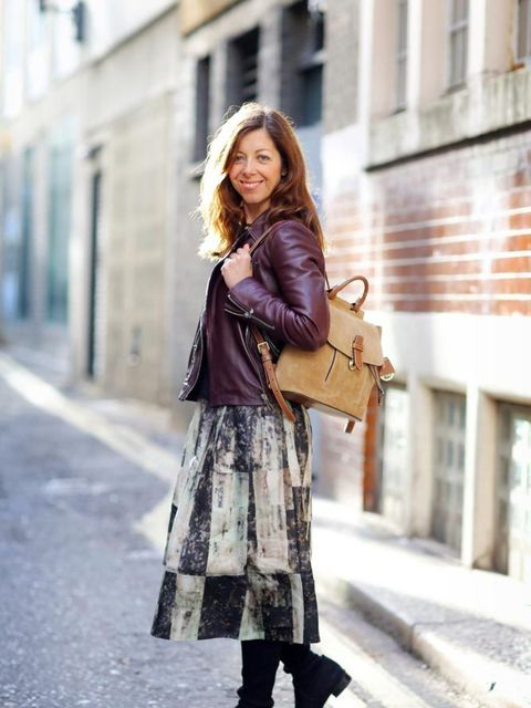 <p>Kirsty Dale, Executive Fashion & Beauty Director</p>  <p>Whistles leather jacket, Banana Republic jumper, Whistles skirt, Stuart Weitzman boots, Michael Kors Collection rucksack</p>