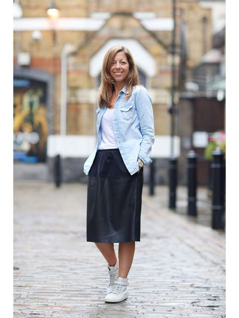 Kirsty Dale, Executive Fashion Director Topshop shirt, Massimo Dutti top, Zara skirt, Whistles trainers, Swatch watch.