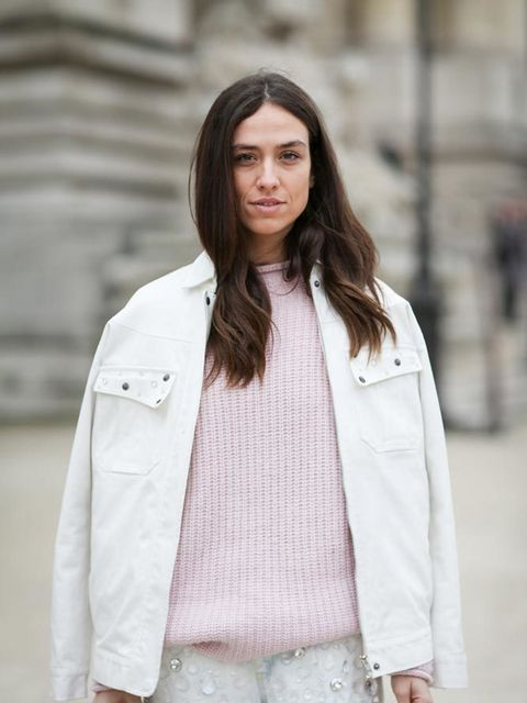 <p>Erika Boldrin</p>  <p>Dondup jacket and jeans, Louis Vuitton bag, Adidas trainers</p>