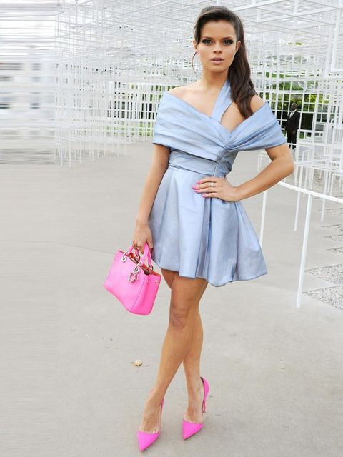 <p>Bip Ling wore an ice blue dress with hot pink accessories and a Sydney Evan necklace.</p>
