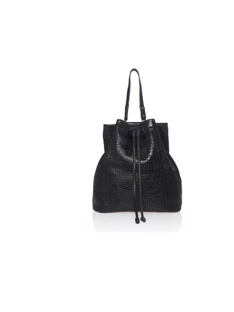 """<p>Embossed leather makes for a souped-up version of the grunge bag of choice, the rucksack. The drawstring close and informal slouchy design keep this low-key... <a href=""""http://www.kurtgeiger.com/bags/dash-rucksack-black-leather-kurt-geiger-london-acces"""