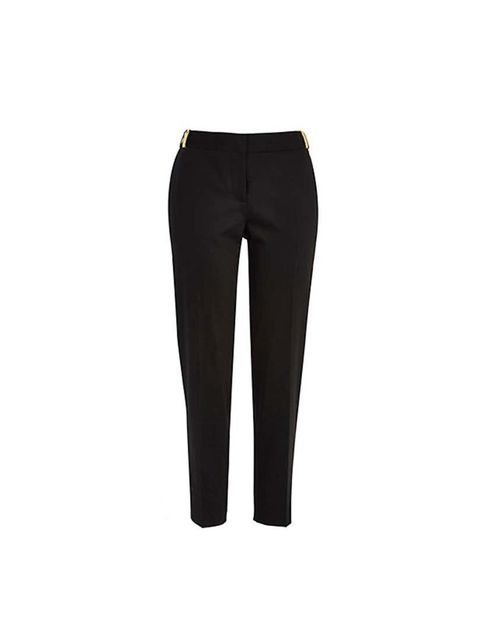 "<p>Team the coat with a pair of cigarette trousers. They are easy and comfortable to wear. </p><p>These are from <a href=""http://www.riverisland.com/women/trousers--leggings/slim-trousers/Black-cigarette-pants-651542"">River Island</a>, £30</p>"