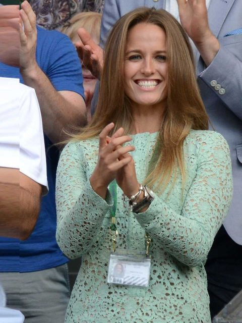 <p>Kim Sears celebrating Andy Murray's victory at the Men's Singles Final, Day 13 of the Wimbledon, London, July 2013.</p>