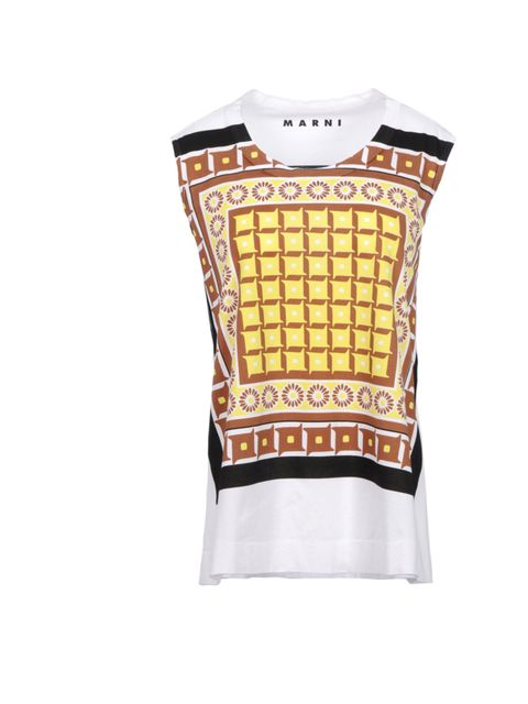 """<p>Marni is the quirky print Queen. So get in on the act with this amazing top, pair with bleached denim and metallic sandals and you're sorted for the season ahead… Marni sleeveless printed T-shirt, £130, at <a href=""""http://www.thecorner.com/gb/women/sle"""