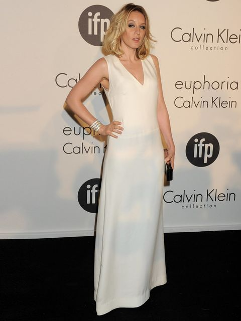 <p>Ludivine Sagnier in white Calvin Klein Collection gown during the Cannes Film Festival 2012</p>