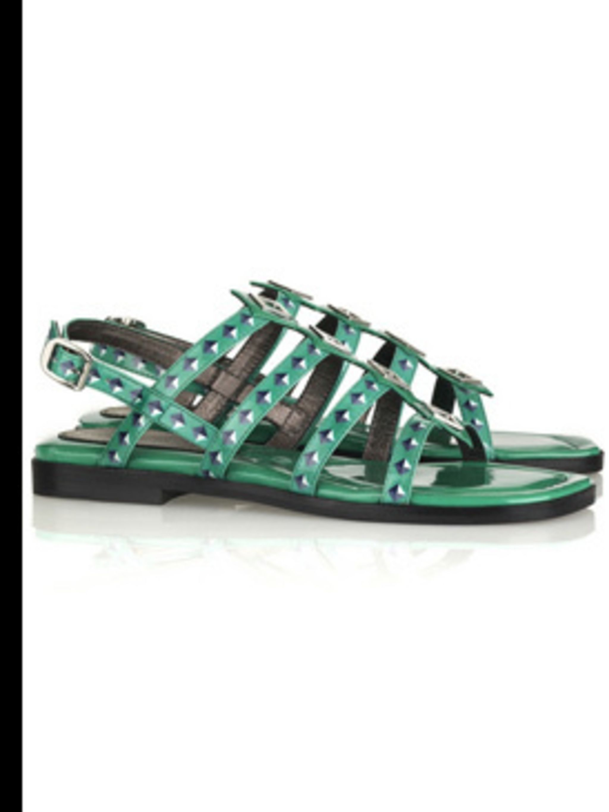 """<p>Green sandals, £259, by Marc by Marc Jacobs at <a href=""""http://www.net-a-porter.com/"""">www.net-a-porter.com</a></p>"""