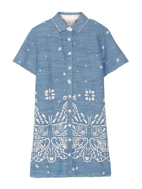 "<p>Wear with gladiator sandals and gold jewellery.</p>  <p>Sea NY dress, £405 at <a href=""http://www.net-a-porter.com/product/541924/SEA/embroidered-denim-mini-dress"" target=""_blank"">Net-A-Porter</a></p>"