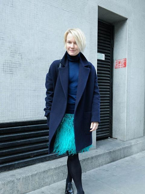 <p>Lorraine Candy - Editor in Chief</p>  <p>Marks & Spencer coat, Matthew Williamson skirt, Louboutin shoes, Cos polo neck, Givenchy bag and Dinny Hall jewellery.</p>
