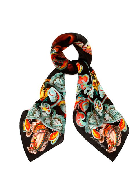 "<p><a href=""http://www.alexandermcqueen.com/gb/alexandermcqueen/special-edition-scarf_cod46391973st.html"" target=""_blank"">Alexander McQueen</a> limited edition scarf for the V&A 'Savage Beauty' exhibition, £345</p>"